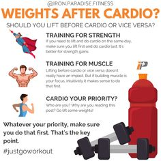 Should you lift weights before or after cardio? . . The answer to the question really depends on your priority and what you're trying to achieve. An article from @helms3dmj and @gregnuckols in an edition of MASS breaks down the research. So here's the key points in simple form. . ️♀️If you're training for Strength and you need to do your cardio on the same day, then lifting first is a must. Strength training before cardio has been prove to bring better results. . Training for muscle? Well…