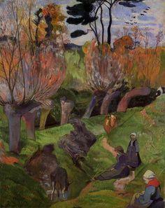 """""""Die Weiden"""", öl auf leinwand von Paul Gauguin (1848-1903, France)"""
