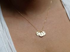 Grandmother necklace, Mother Necklace, Grandma Gift, Three Initial Necklace, Gold Personalized disc Necklace, Gold Initial Circle necklace
