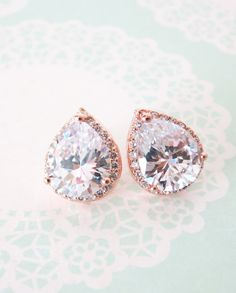 Elegant and gorgeous teardrop cubic zirconia ear studs for brides and bridesmaids. Beautiful earrings made with rose gold plated Cubic zirconia. 925