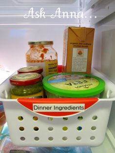 """Love this bin--can have everything there and ready to go--you could even have everything premeasured & in one spot.     """"Refrigerator Organization Tips - Great ideas for getting the fridge in order."""""""