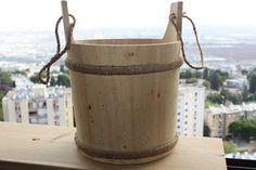 Vintage Wooden Large Ice Bucket Bowl Planter 28cm Rustic Carved Wood Sauna Decor