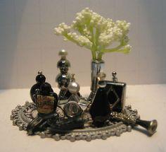 Dollhouse Fantastic Vanity Tray Silver Black Perfumes Clarinet Gloves Lamp | eBay