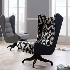 Cobb Swivel Wing Chair - Chevron #westelm OH MY GOODNESS THIS IS KILLER!!!!! WOW!