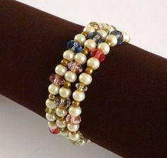 Vintage Wrap Bracelet with Glass Beads