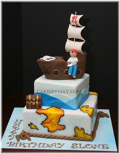 4) An example of how a pirate ship could be used as a cake topper (Pirate cake by Cakes by Maylene, via Flickr)