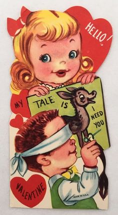 Vintage Die Cut Valentine's Day Card Cute Boy & Girl Pin The Tail On The Donkey