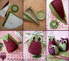 Crafts: Owl in easy fabric . Owl Fabric, Fabric Toys, Fabric Scraps, Owl Sewing Patterns, Craft Patterns, Sewing Toys, Sewing Crafts, Sewing Projects, Free Sewing