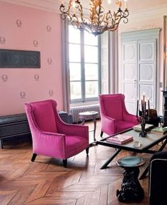 Chantal Thomass' French home. love these chairs!!