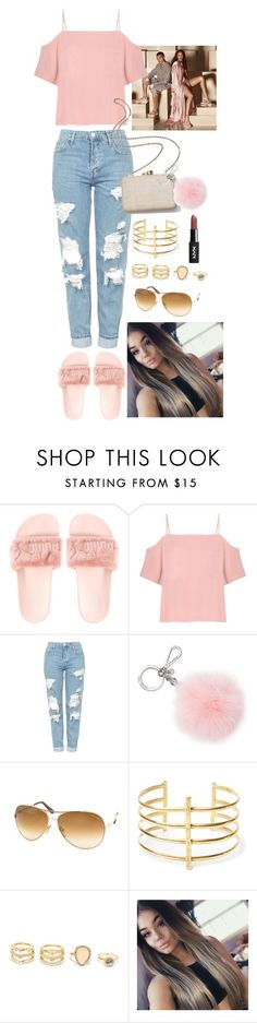 """""""Fenty Slides Outfit #1 Pink"""" by janaalonzo ❤ liked on Polyvore featuring T By Alexander Wang, Topshop, Kayu, Michael Kors, Tom Ford, BauXo and LULUS"""
