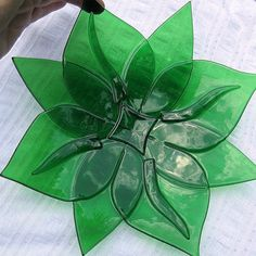 Light Green Leaf Motif Fused Glass Bowl by LivingGlassArt