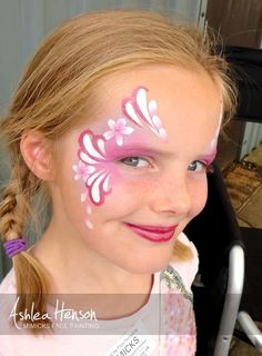 Face painting pink flowers