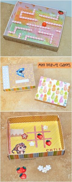 Need a fun boredom buster for while on-the-go with kids? Make a recycled DIY Mini Travel Game Box! We made tic tac toe & a marble maze inside Maze Games For Kids, Games For Toddlers, Craft Activities For Kids, Library Activities, Montessori Activities, Diy Gifts For Kids, Diy For Kids, Crafts For Kids, Family Crafts