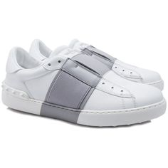 Valentino Garavani Elastic Band Sneakers (27,720 PHP) ❤ liked on Polyvore featuring shoes, sneakers, leather slip-on shoes, rubber sole shoes, valentino trainers, leather slip on sneakers and studded slip on sneakers