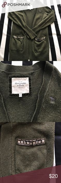 A&F olive green cardigan gently worn. cute detailed pockets, no stones missing. no holes/stains. Abercrombie & Fitch Sweaters Cardigans
