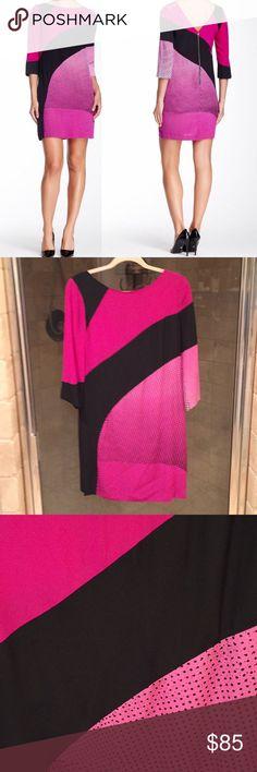 Silk DVF dress Re-posh, too big. 100% silk, pink and black dress by Diane von Furstenberg. Tags still on, perfect condition. Diane Von Furstenberg Dresses