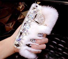 Rabbit Hair Fur Fox Head Bling Diamond Rhinestone TPU Case For iPhone 7 7 Plus Cover