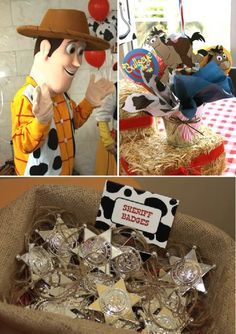 52 Cowboy Themed Boy Birthday Party Ideas - Spaceships and Laser Beams - Toys for years old happy toys Cumple Toy Story, Festa Toy Story, Toy Story Party, Cowboy Theme Party, Cowboy Birthday Party, 4th Birthday Parties, Woody Birthday, Toy Story Birthday, 2nd Birthday