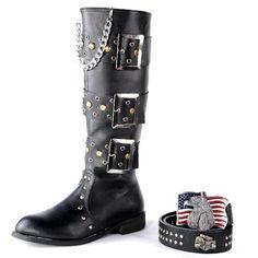 Black Studded Knee High Steampunk Steam Punk Goth Boots w/ Chains Men SKU-1280362
