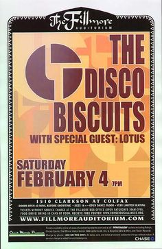 Original concert poster for Disco Biscuits and Lotus at the Fillmore in Denver, CO. 11 x 17 inches on thin glossy paper.