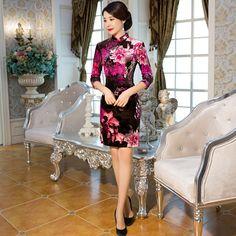 Free Shipping New Sale Half Sleeve Velvet Qipao Chinese Women's Clothing Cheongsam Dress Floral Qipao For Women