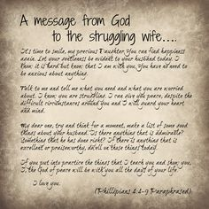 A message of hope to a struggling wife Phillipians 4:4-9 Paraphased