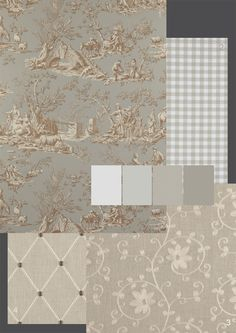 FABRICS: 1.Manuel Canovas 'Bellegarde' colour shown: sepia 2.Clarke & Clarke 'Gingham Check' colour: taupe 100% cotton 3.Clarke & Clarke 'Ashley' 70% viscose/30% linen colour shown: linen 4.Clarke & Clarke 'Marton'70% viscose/30% linen colour shown: linen