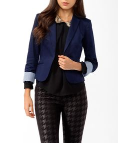 Fitted Notched Lapel Blazer   FOREVER21 - 2019571984