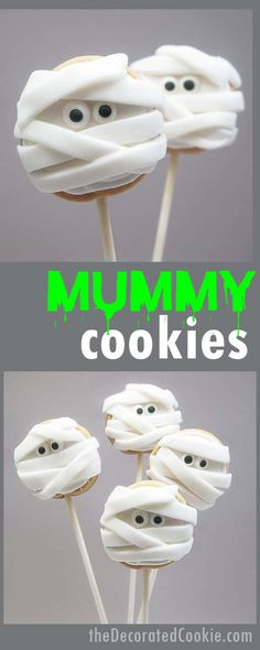 Mummy cookie pops for a fun Halloween treat