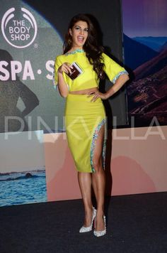 Jacqueline Fernandez proved to be an absolute stunner at a recent promotional event for a brand that the actress endorses. The beautiful actress turned heads in her lime green ensemble as she took to the stage with her million dollar smile right in place. Jacqueline interacted with the media present at the venue as she talked about the products from the brand and also posed for the waiting shutterbugs.