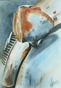 Galeries virtuelles aquarelles et acryliques - Anne Larose - Vintage Cars, Vintage Photos, Antique Cars, Watercolor Landscape, Watercolor Paintings, Watercolour, Frank Stella, Wow Art, Painting & Drawing