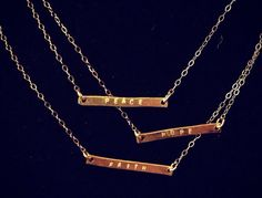 Stamped Bar Necklace UPPER CASE Letters /// Brass or by NicWhims, $28.00