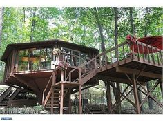 A Pennsylvanian home that looks a bit like a fancy tree house Treehouse Living, Wood For Sale, Cool Tree Houses, Tiny Houses, Cabins And Cottages, Lloyd Wright, House Made, My Dream Home, Dream Homes