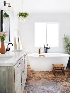 60 Fantastic Farmhouse Bathroom Vanity Decor Ideas And Remodel. If you are looking for 60 Fantastic Farmhouse Bathroom Vanity Decor Ideas And Remodel, You come to the right place. Bathroom Vanity Decor, Bathroom Tile Designs, Bathroom Styling, White Bathroom, Bathroom Flooring, Modern Bathroom, Small Bathroom, Master Bathroom, Bathroom Ideas