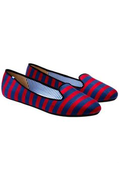 Love these striped cotton canvas slippers by Charles Phillip in today's loafer roundup.
