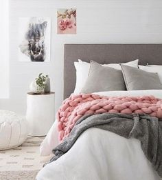 """Spirit"" horse print by One Tiny Tribe. Great for home decor (like a bedroom) and kids rooms. Scandinavian style decor with grey and pink by @villastyling. Buy print at www.oentinytribe.com"