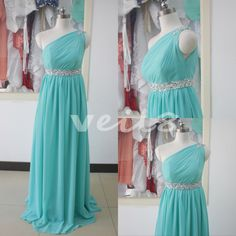 Turquoise sequined chiffon evening dress beaded shoulder bridesmaid dress custom bridesmaid wedding party dress sexy cocktail dresses