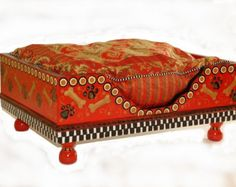 Red Bones Hand-Painted Doggie Bed
