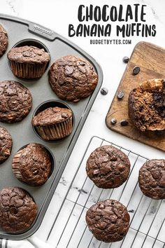 Chocolate Banana Muffins are a delicious freezer-friendly sweet treat, and a great way to use up brown bananas so they don't go to waste! Budgetbytes.com Frozen Chocolate Bananas, Chocolate Banana Muffins, Chocolate Chips, Muffin Recipes, Baking Recipes, Dessert Recipes, Oreo Desserts, Loaf Recipes, Pudding Cake