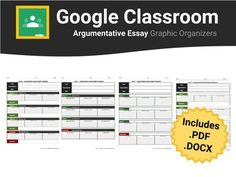 Help students write an argumentative essay in Google Classroom / Docs with this easy to use graphic organizer template. This argumentative essay graphic organizer is Google Classroom ready. No more messy formatting errors upon converting from .pdf or .docx to Google Docs; however, these file formats are also included in the download for your convenience.