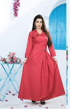 Checkout this latest Dresses Product Name: *Classy Elegant Women Dresses* Fabric: Cotton Sleeve Length: Three-Quarter Sleeves Pattern: Solid Multipack: 1 Sizes: M (Bust Size: 38 in, Length Size: 55 in)  L (Bust Size: 40 in, Length Size: 55 in)  XL (Bust Size: 42 in, Length Size: 55 in)  XXL (Bust Size: 44 in, Length Size: 55 in)  Country of Origin: India Easy Returns Available In Case Of Any Issue   Catalog Rating: ★4 (368)  Catalog Name: Fancy Designer Women Dresses CatalogID_2370472 C79-SC1289 Code: 624-12334303-1701