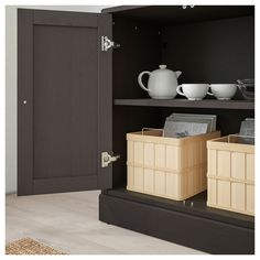 HAVSTA Storage combination w/glass doors, dark brown, 31 - IKEA Dark Brown Cabinets, Storage, Ikea Room Divider, Cabinet, Tempered Glass Shelves, Ikea, Adjustable Shelving, Glass Door, Movable Shelf