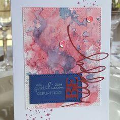Wieder gewerkelt...😀  Geburtstagskarte mit Aquarellhintergrund.