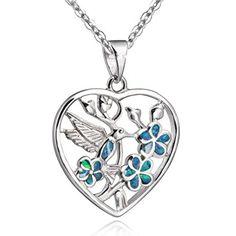 925 Opal Plata colgante corazón verde colibrí Colgante - para Collar