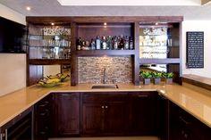 Bat Wet Bar With Tile Backsplash Finished Company Designs