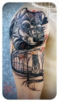 wolf tattoo by David Hale  ... I think this is my favorite ... add some arrows and we're good to go ;)