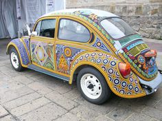 Vocho Huichol mexican bead hand decorate Bettle Volkswagen