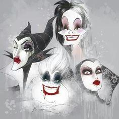 Maleficent // Cruella DeVille //The Evil Queen // Ursula // Disney Villains Walt Disney, Evil Disney, Disney Magic, Ursula Disney, Female Villains, Evil Villains, Disney Villains, Disney Dream, Disney Love