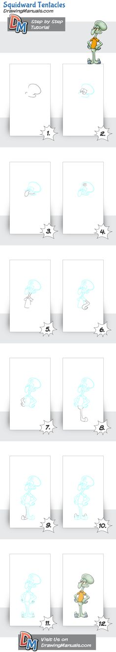 How to Draw Squidward Tentacles-SpongeBob SquarePants following a simple guideline. For better images follow the link: http://drawingmanuals.com/manual/how-to-draw-squidward-tentacles-spongebob-squarepants/ or click on the pin
