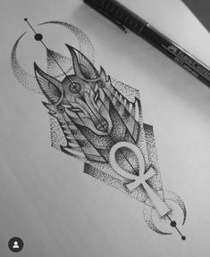 Anubis tattooYou can find Egyptian tattoo and more on our website. Tattoo Design Drawings, Tattoo Sleeve Designs, Tattoo Sketches, Sleeve Tattoos, Egypt Tattoo Design, Egypt Design, Dot Tattoos, Body Art Tattoos, Hand Tattoos